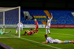 BIRKENHEAD, ENGLAND - Tuesday, September 29, 2020: Liverpool's Luis Longstaff scores the second goal to level the score at 2-2 during the EFL Trophy Northern Group D match between Tranmere Rovers FC and Liverpool FC Under-21's at Prenton Park. Tranmere Rovers won 3-2. (Pic by David Rawcliffe/Propaganda)