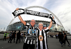 Newcastle United fans John and Margaret Elder show support for their team before the Premier League match at Wembley Stadium, London.