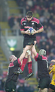 Watford, Hertfordshire, 08.12.2001, Zurich Premiership Rugby,  Scott Murray, collects the line out ball, during the, Saracens vs Newcastle Falcons, match played at, Vicarage Road, <br /> [Mandatory Credit: Peter Spurrier/Intersport images]