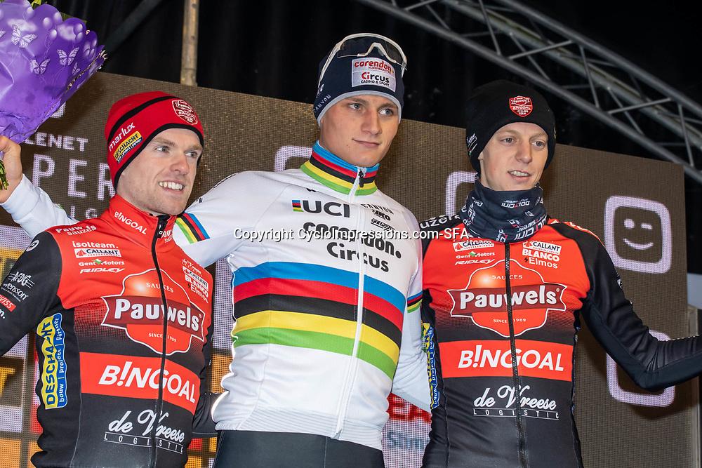 2019-12-29: Cycling: Superprestige: Diegem: Mathieu van der Poel wins in the night of Diegem ahead of Eli Iserbyt and Michael Vanthourenhout