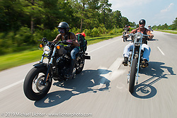 "Chanel Flowers and The Horse Magazine publisher Ralph ""Hammer"" Janus riding from Camp Lejeune Marine base in NC to Suck, Bang, Blow in Murrells Inlet in SC on the way to the Smokeout 2015. USA. June 17, 2015.  Photography ©2015 Michael Lichter."