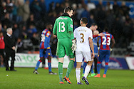 Crystal Palace goalkeeper Wayne Hennessey with his Wales teammate Neil Taylor of Swansea city  at the end of the match. Barclays Premier league match, Swansea city v Crystal Palace at the Liberty Stadium in Swansea, South Wales on Saturday 6th February 2016.<br /> pic by Andrew Orchard, Andrew Orchard sports photography.