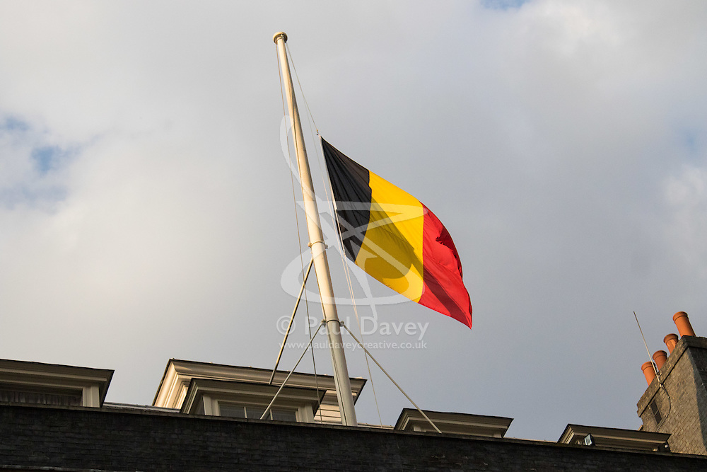 Downing Street, London, March 22nd 2016. The British and Belgian flags fly at half mast in Downing Street in solidarity with the people of Belgium following the terrorist attacks in Brussels. ©Paul Davey<br /> FOR LICENCING CONTACT: Paul Davey +44 (0) 7966 016 296 paul@pauldaveycreative.co.uk