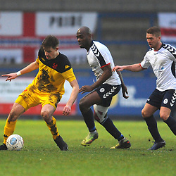 TELFORD COPYRIGHT MIKE SHERIDAN 19/1/2019 - Joe Ironside of Kidderminster holds off Theo Streete and Darryl Knights of AFC Telford during the Vanarama Conference North fixture between AFC Telford United and Kidderminster Harriers