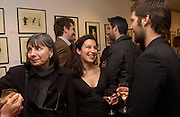 Ines Sodre and Nathalie Malinarich, Crisstobal Palma on right beard.  Nicholas Garland prints and drawings, Fine Art Society. 13 May 2003. © Copyright Photograph by Dafydd Jones 66 Stockwell Park Rd. London SW9 0DA Tel 020 7733 0108 www.dafjones.com