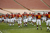 22 August 2007:  USC Trojans NCAA Pac-10 college football team fall intrasquad scrimmage at the LA Memorial Coliseum on Wednesday night infront of 18,000 fans who attended for free.
