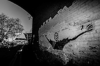 Street art welcomes fans arriving at The Den, home of Millwall football club<br /> <br /> Photographer Craig Mercer/CameraSport<br /> <br /> Football - The Football League Sky Bet Championship - Millwall v Middlesbrough - Saturday 6th December 2014 - The Den - London<br /> <br /> © CameraSport - 43 Linden Ave. Countesthorpe. Leicester. England. LE8 5PG - Tel: +44 (0) 116 277 4147 - admin@camerasport.com - www.camerasport.com