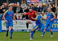 Football - 2021 / 2022 Emirates FA Cup - First Round Qualifying - Bootle vs. FC United of Manchester - Berry Street Garage Stadium - Saturday 4th September 2021<br /> <br /> Carl Peers of Bootle blocks the run of Michael Potts  of FC United, at the Berry Street Garage Stadium.<br /> <br /> COLORSPORT/Alan Martin