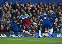 Football - 2019 / 2020 Premier League - Chelsea vs. West Ham United<br /> <br /> Fikayo Tomori (Chelsea FC) catches Michail Antonio (West Ham United) just outside the Chelsea area at Stamford Bridge <br /> <br /> COLORSPORT/DANIEL BEARHAM