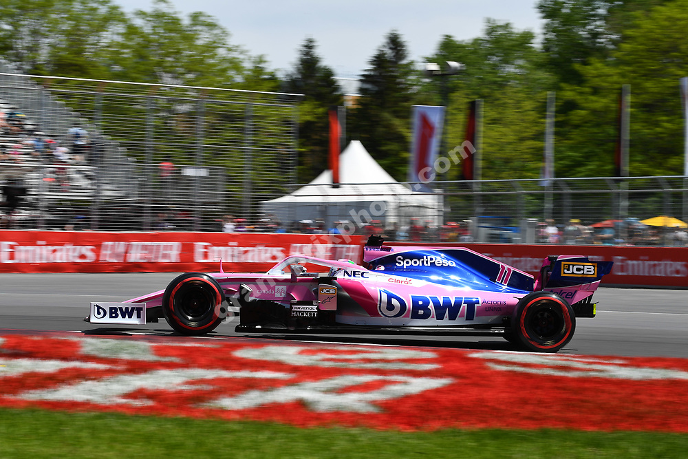 Sergio Perez (Racing Point-Mercedes) during practice for the 2019 Canadian Grand Prix in Montreal. Photo: Grand Prix Photo
