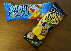 May 1, 2019 - Tokyo, Japan - May 1, 2019 - Tokyo, Japan - Garigari-kun soda and golden pineapple flavored ice cream bars is pictured in Tokyo, Japan on Wednesday, May 1, 2019. (Credit Image: © Christopher Jue/ZUMA Wire)