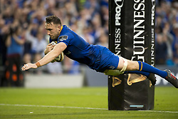 May 27, 2018 - Dublin, Ireland - Jack Conan of Leinster scores a try during the Guinness PRO14 Final match between Leinster Rugby and Scarlets at Aviva Stadium in Dublin, Ireland on May 26, 2018  (Credit Image: © Andrew Surma/NurPhoto via ZUMA Press)
