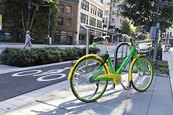 August 27, 2017 - Seattle, Washington, United States - Seattle, Washington: LimeBike parked at Amazon's Doppler building in the Belltown neighborhood. Currently active in 8 US cities, the bicycle sharing company deployed in Seattle in July 2017. A mobile app is used to locate and unlock bicycles which can be parked in any legal public place. (Credit Image: © Paul Gordon via ZUMA Wire)