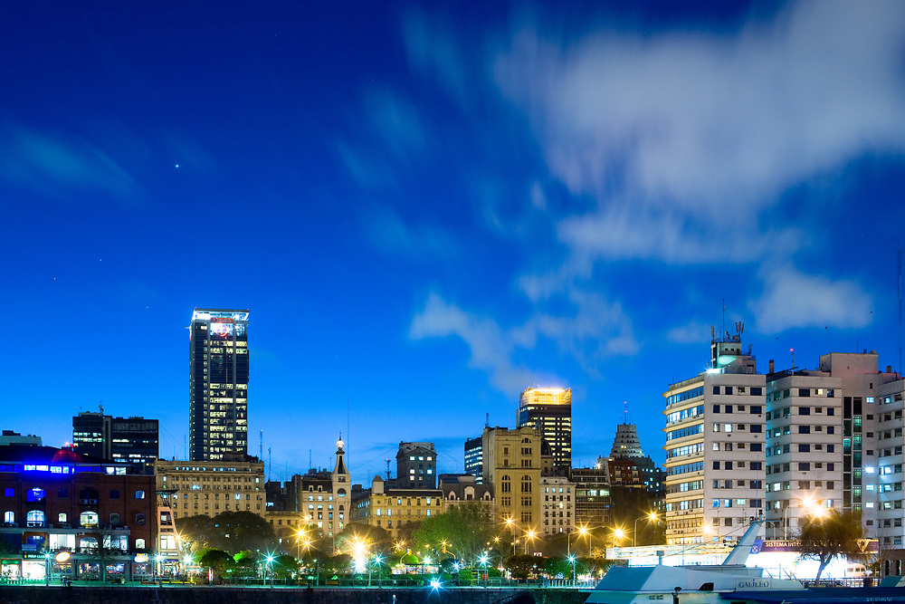 Buenos Aires, Capital Federal, Argentina, South America - Downtown Buenos Aires from Puerto Madero at night.
