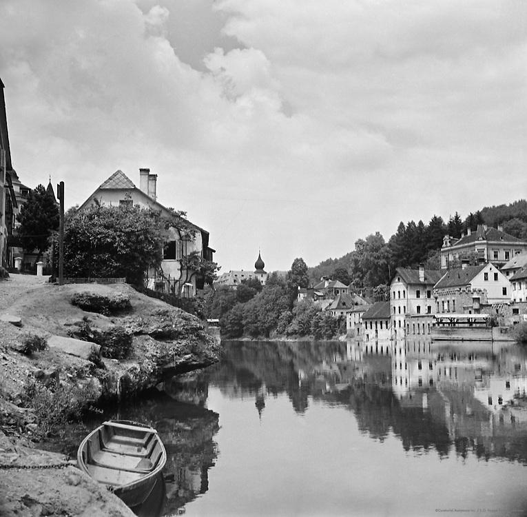 River Ybbs with boat, city, Waidhofen, Austria, 1937