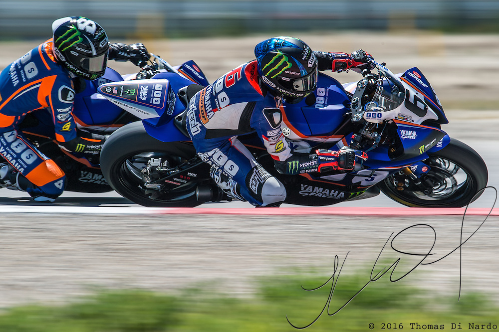 August 3, 2013 - Tooele, UT - Cameron Beaubier leads Garrett Gerloff during in Daytona Sportbike Race 1 at Miller Motorsports Park. Beaubier won the event with Gerloff finishing in the second position.