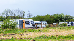 The Travellers' camp on land that they purchased but have not received planning permission from the local authority for permanent structures. Little Hadham, Herts, May 08 2019.