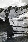 at La Tour Ronde posing with the glacier de la Brenva in the Alps 1934