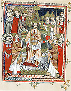 Coronation and unction of a king, from a French 'life' of Edward the Confessor (d1066) of c1245. Probably portrait of Henry III of England crowned 1216 at Gloucester and 1220 at Westminster. Chromolithograph after medieval manuscript.