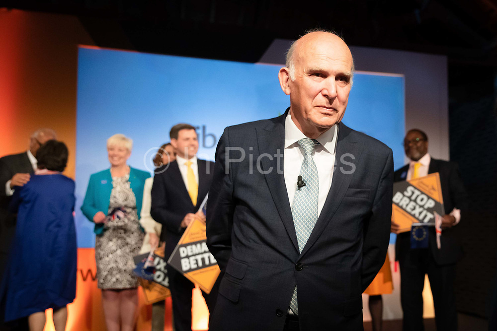 Liberal Democrat Leader Vince Cable leaves after making a speech at the Liberal Democrat party European election campaign launch held at Tobacco Dock, in London, England on April 26, 2019. Liberal Democrat party leader, Vince Cable announced Member of European Parliament MEP candidates for the upcoming European Parliament elections that will take place from 23rd to 26th May 2019.