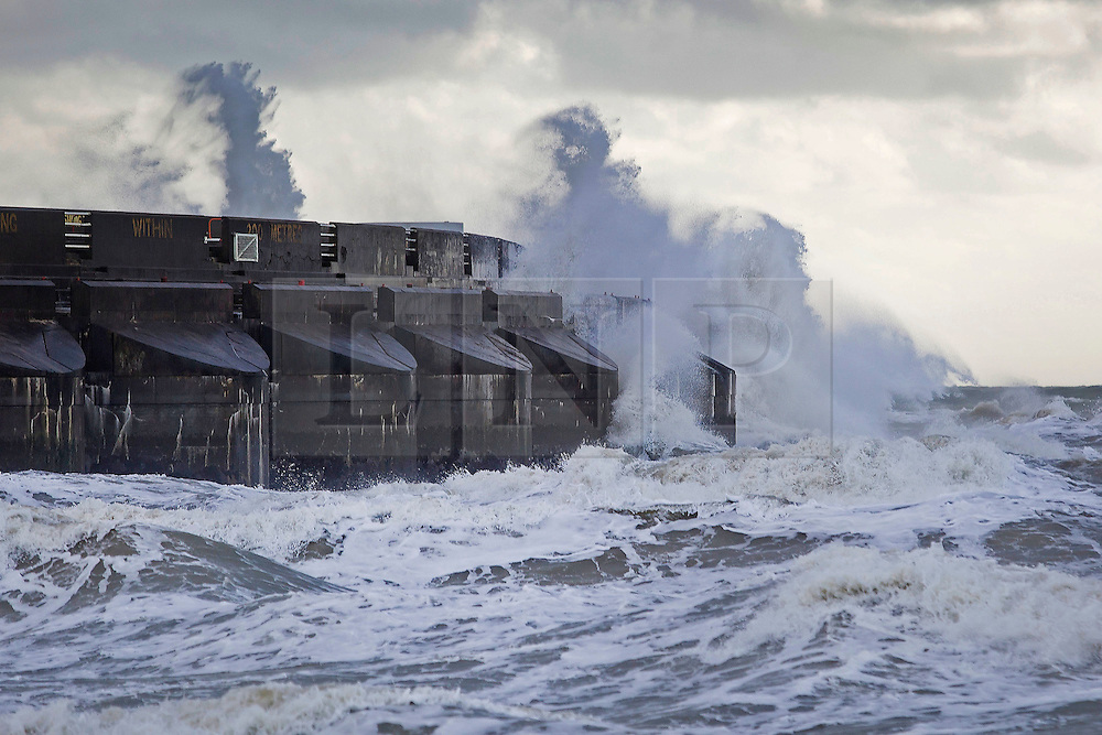 Brighton, UK. 22/11/2016, Strong wind and powerful waves are hitting the Marina Sea defence wall in Brighton. Photo Credit: Hugo Michiels