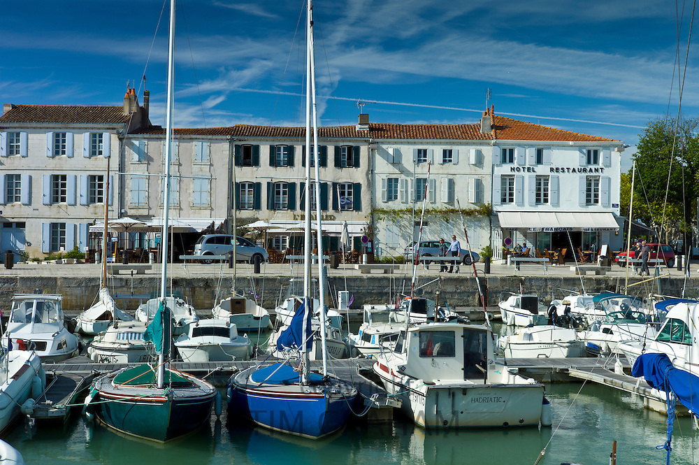 Boats in the harbour at Quai de Senac in La Flotte, Ile de Re, France