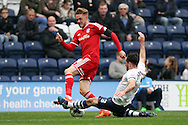 Craig Noone of Cardiff City is tackled by Greg Cunningham of Preston North End. Skybet football league championship match, Preston North End v Cardiff City at the Deepdale stadium in Preston, Lancashire on Saturday 17th October 2105.<br /> pic by Chris Stading, Andrew Orchard sports photography.