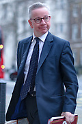 Minister for the Cabinet Office Michael Gove arriving at the Whitehall in London on Wednesday, Mar 18, 2020 - amid government struggle to cope with Britain Virus Outbreak.<br /> For most people, the new coronavirus causes only mild or moderate symptoms, such as fever and cough. For some, especially older adults and people with existing health problems, it can cause more severe illness, including pneumonia. (Photo/Vudi Xhymshiti)