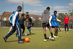 Park View Rangers FC training session as part of the FA's Mash Up scheme. The Football Association Football Mashup is an initiative aimed at tackling the drop out from football of teenagers in the 14-17 age group. Tottenham, London UK 2014