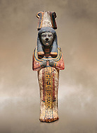 Ancient Egyptian shabtis doll, lwood, New Kingdom, 18th Dynasty, (1538-1040 BC), Deir el Medina. Egyptian Museum, Turin. .<br /> <br /> If you prefer to buy from our ALAMY PHOTO LIBRARY  Collection visit : https://www.alamy.com/portfolio/paul-williams-funkystock/ancient-egyptian-art-artefacts.html  . Type -   Turin   - into the LOWER SEARCH WITHIN GALLERY box. Refine search by adding background colour, subject etc<br /> <br /> Visit our ANCIENT WORLD PHOTO COLLECTIONS for more photos to download or buy as wall art prints https://funkystock.photoshelter.com/gallery-collection/Ancient-World-Art-Antiquities-Historic-Sites-Pictures-Images-of/C00006u26yqSkDOM