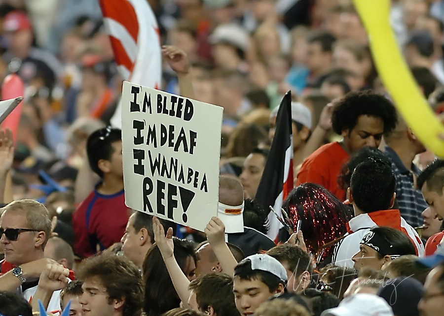 DC United fans display their displeasure with the match referee. DC United lost its 2010 opening match 2-0 to the visiting New England Revolution at RFK Stadium in Washington, D.C.