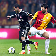 Galatasaray's Hakan Balta (R) and Besiktas's Ricardo Quaresma (L) Action picture during their Turkish superleague soccer derby match Galatasaray between Besiktas at the TT Arena at Seyrantepe in Istanbul Turkey on Sunday, 26 February 2012. Photo by TURKPIX