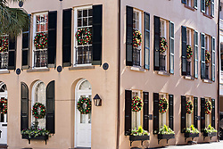 December 21, 2017 - Charleston, South Carolina, United States of America - A historic building decorated with a Christmas wreaths on each window along Broad Street in Charleston, SC. (Credit Image: © Richard Ellis via ZUMA Wire)