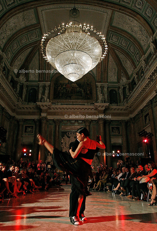 Italy, Genoa, Tango Festival:the night dance in the main hall,  the argentinian dancer Erica Boaglio e Adrian Aragon