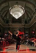Italy, Genoa, Tango Festival:the night dance in the main hall,  the argentinian dancer Erica Boaglio e Adrian Aragon