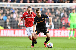 March 9, 2019 - Nottingham, England, United Kingdom - Markus Henriksen (22) of Hull City on the ball shadowed by Leo Bonatini (33) of Nottingham Forest during the Sky Bet Championship match between Nottingham Forest and Hull City at the City Ground, Nottingham on Saturday 9th March 2019. (Credit Image: © Jon Hobley/NurPhoto via ZUMA Press)
