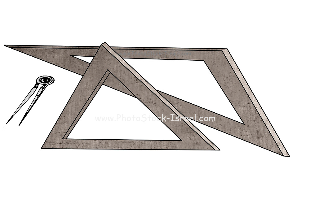 Geometry and science concept illustration with triangular rulers and a compass on white background