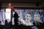 30 May 2012: Hall of Famer Hank Steinbrecher makes some opening remarks. The 2012 National Soccer Hall of Fame Induction Ceremony was held at Fedex Field in Landover, Maryland before a men's international friendly soccer match between the United States and Brazil.
