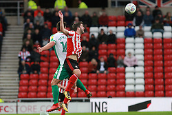 March 2, 2019 - Sunderland, England, United Kingdom - Sunderland's Will Grigg contests for the ball with Plymouth Argyle's Niall Canavan during the Sky Bet League 1 match between Sunderland and Plymouth Argyle at the Stadium Of Light, Sunderland on Saturday 2nd March 2019. (Credit Image: © Mi News/NurPhoto via ZUMA Press)