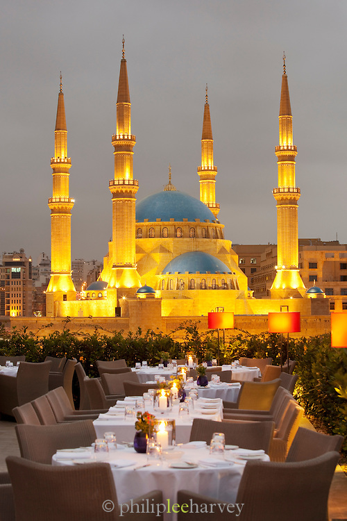 A view from a restaurant terrace of the Le Gray hotel showing the illuminated Mohammad Al-Amin Mosque at Martyrs Square in Beirut, Lebanon