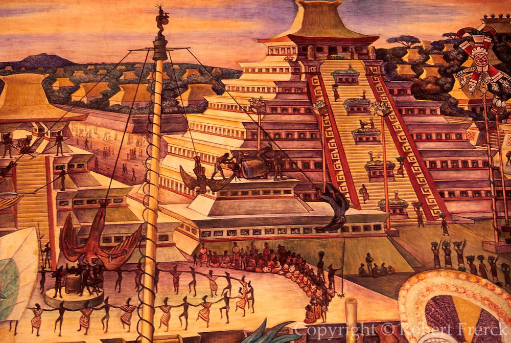 MEXICO, MEXICO CITY, MURAL Rivera mural 'Totonac Civilization'