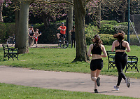 people in Lemington Spa   out in the park not following government advice to stay  at home photo by Mark Anton Smith
