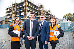 Pictured: Jamie Hepburn met Gemma Goorlay, Director of Social Sustainability, Stewart Shearer, MD of Robertsons' Partnership Homes and Laura Doherty, Trainee Assistant Site Manager (Roberston's 100th apprentice)<br /> Minister for Employability and Training Jamie Hepburn  responded to the latest Labour market statistics when he visited Robertson Partnership Homes in Edinburgh today and met some of their construction workers<br /> <br /> <br /> Ger Harley | EEm 15 November 2017