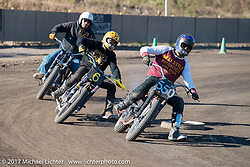 "Go Takamine just ahead of Toshiyuki ""Cheetah"" Osawa, both who swapped bikes over and over to get back into the thick of it at Go's Brat Style's flat track racing at West Point Offroad Village. Kawagoe, Saitama. Japan. Wednesday December 6, 2017. Photography ©2017 Michael Lichter."
