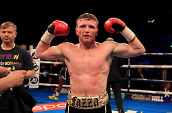 Tom Farrell celebrates winning the Super-Lightweight Contest at the Echo Arena, Liverpool. PRESS ASSOCIATION Photo. Picture date: Saturday April 21, 2018. See PA story BOXING Liverpool. Photo credit should read: Peter Byrne/PA Wire.