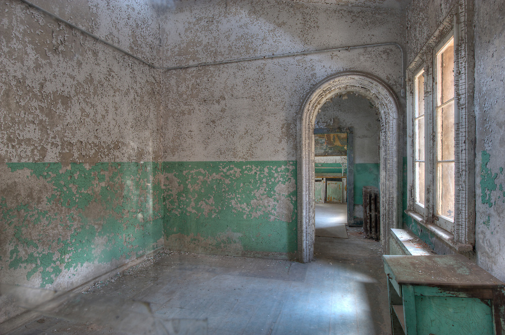 """Chaplains office at Eastern State Penitentiary, Philadelphia, PA (US). HDR image. Opened in 1829, and dubbed the """"Pennsylvania System"""" or Separate system, originated and encouraged solitary confinement as a form of rehabilitation. The prison was closed and abandoned in 1971, now operates as a museum and historic site."""