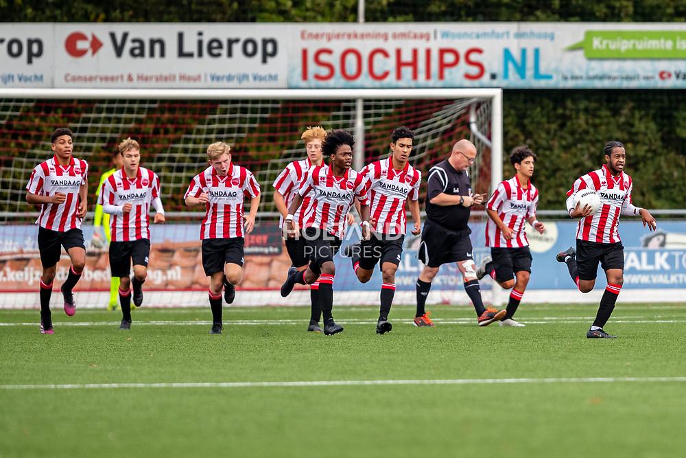 ALPHEN AAN DEN RIJN, NETHERLANDS - OCTOBER 2: (L-R) #4 Bjorn Titulaer (Alphense Boys), #10 Lebron Campagne (Alphense Boys), #3 D'Angelo Lobman (Alphense Boys),#12 Alec Lansman (Alphense Boys), #6 Raman Halou (Alphense Boys) during the Divisie 1 A NAJAAR u15 match between Alphense Boys and PSV at Sportpark De Bijlen on October 2, 2021 in Alphen aan den Rijn, Netherlands