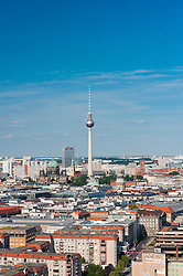 Skyline of Berlin with TV tower in distance in Germany