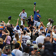 R.A. Dickey post match after pitching during his 20th win of the season during the New York Mets v Pittsburgh Pirates regular season baseball game at Citi Field, Queens, New York. USA. 27th September 2012. Photo Tim Clayton