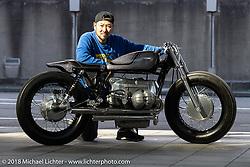 Kengo Kimura with his Heiwa Motorcycle's custom 1971 BMW R75 at the 27th Annual Mooneyes Yokohama Hot Rod Custom Show 2018. Yokohama, Japan. Saturday, December 1, 2018. Photography ©2018 Michael Lichter.